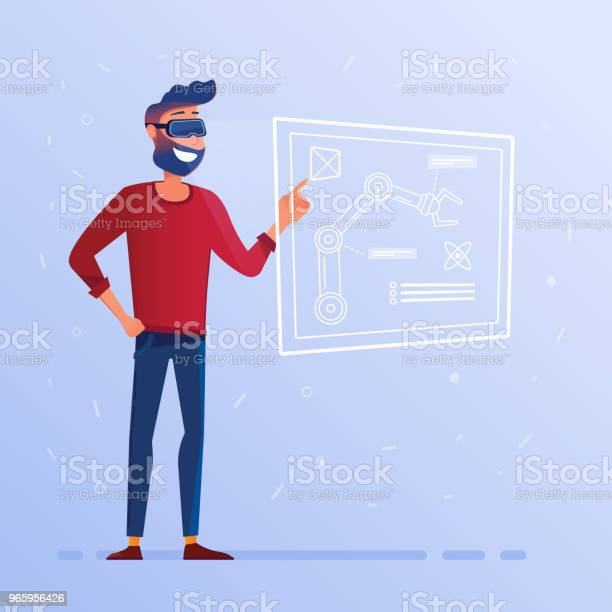 A Man In Vr Headset With Hud Interface Showing Technological Blueprint With Robotic Arm Stock Illustration - Download Image Now