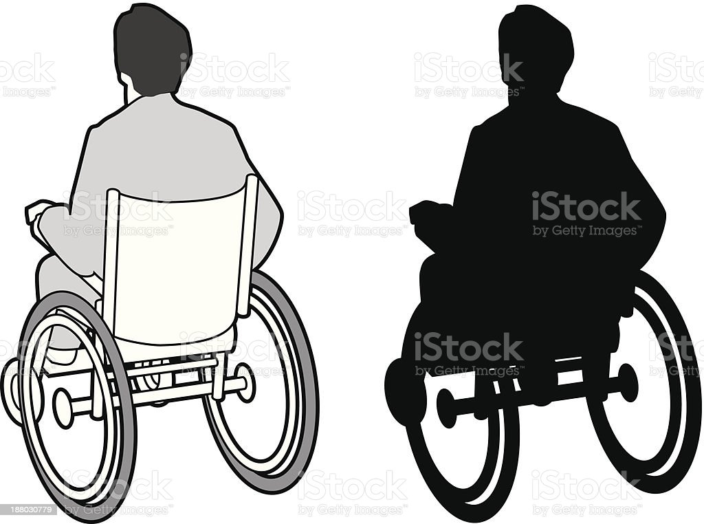 Man in wheelchair, paraplegic royalty-free stock vector art