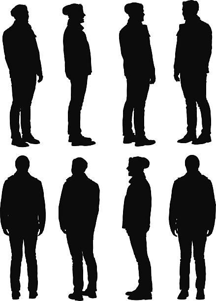 illustrazioni stock, clip art, cartoni animati e icone di tendenza di uomo in abbigliamento invernale vista a 360° - ritratto 360 gradi