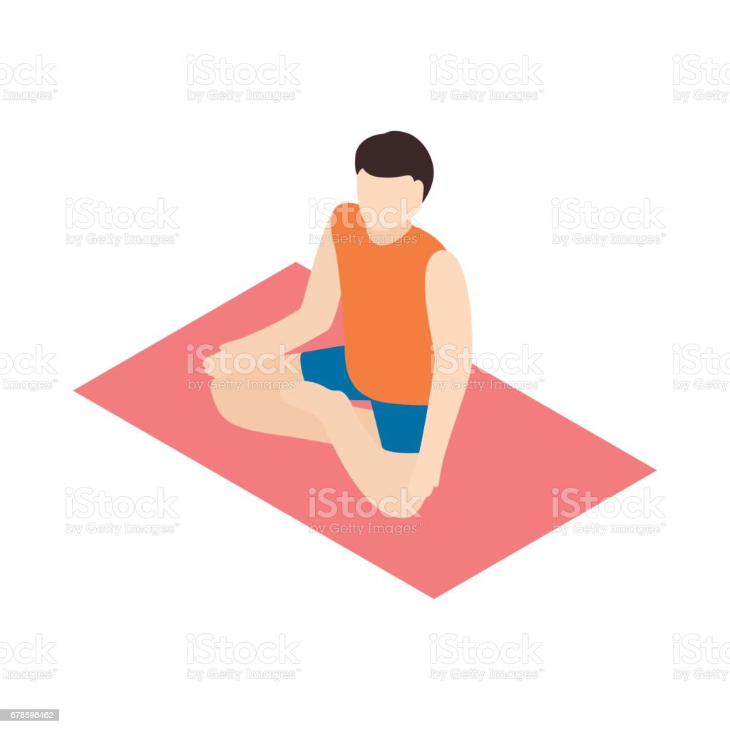 Man In Yoga Lotus Pose Icon Isometric 3d Style Stock Vector Art