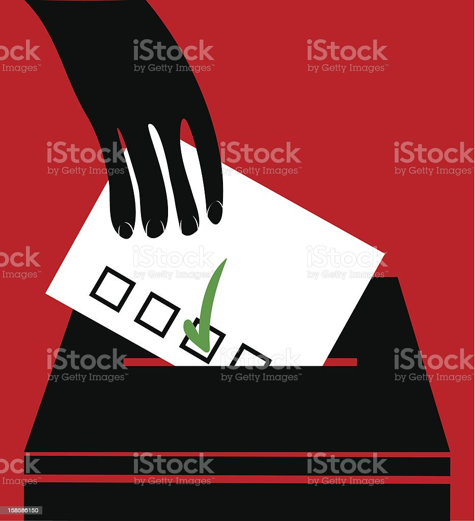 man insert vote in box royalty-free stock vector art