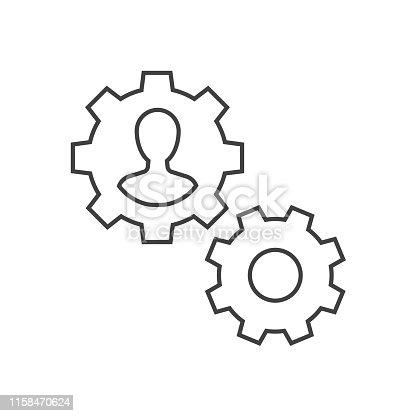 Man inside gear outline icon