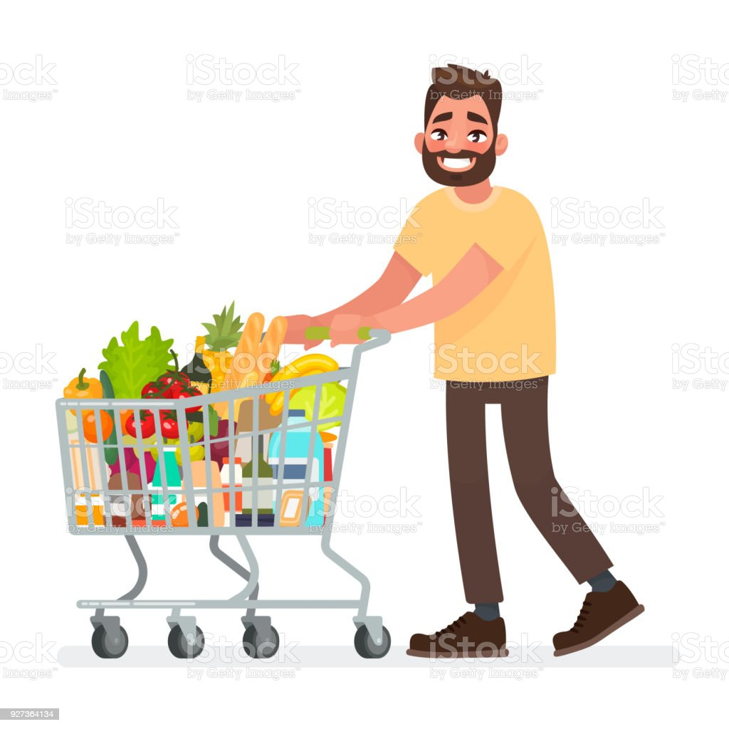 Man is carrying a grocery cart full of groceries in the supermarket. Vector illustration Man is carrying a grocery cart full of groceries in the supermarket. Vector illustration in cartoon style Adult stock vector