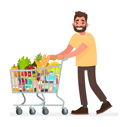 Man Is Carrying A Grocery Cart Full Of Groceries In The Supermarket Vector Illustration Stock Illustration - Download Image Now
