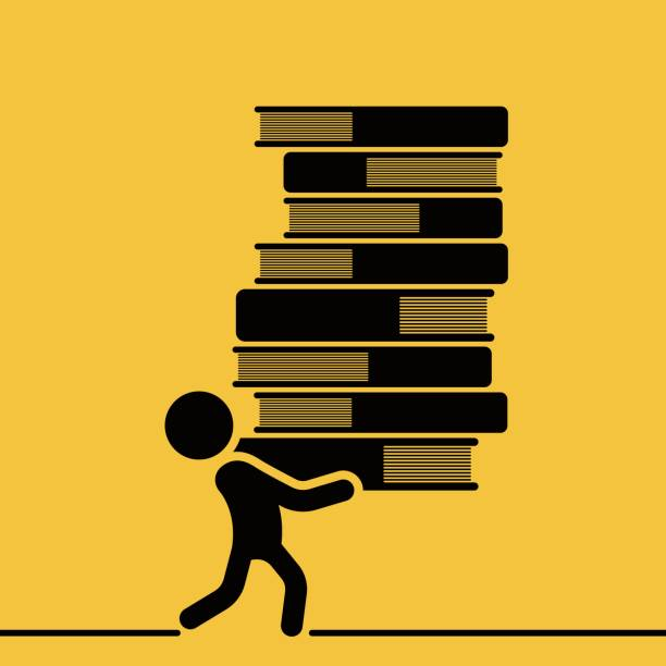 Man is carrying a tall pile of books vector art illustration