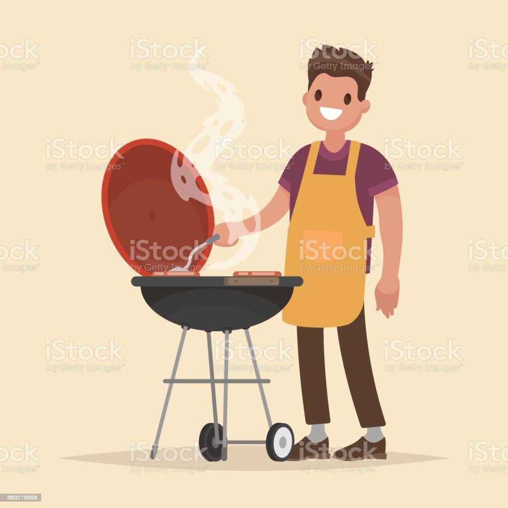男人烹飪燒烤。炒肉和香腸著火。向量圖 免版稅 男人烹飪燒烤炒肉和香腸著火向量圖 向量插圖及更多 勺 圖片