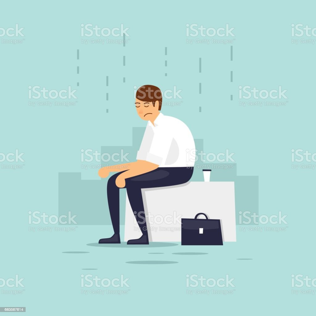 Mann ist deprimiert. Flache Vektor-Illustration im Cartoon-Stil. – Vektorgrafik