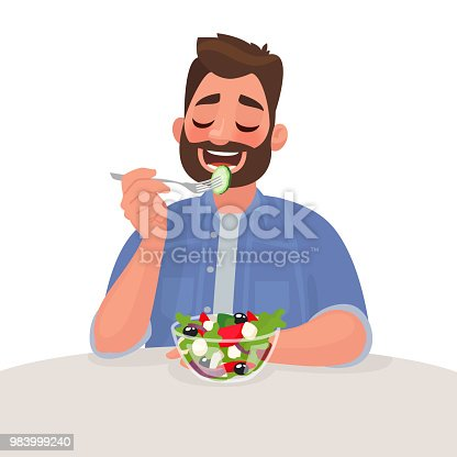 Man is eating a salad. Vegetarian. The concept of proper nutrition and healthy lifestyle. Vector illustration in cartoon style