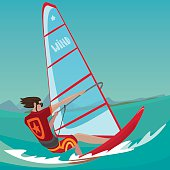 Sports man rushes standing on the board and holding the sail with two hands - Extreme sport or windsurfing concept