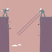 A man is going to the other side of the cliff, using a ladder. The background is brown.