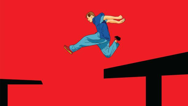 bildbanksillustrationer, clip art samt tecknat material och ikoner med mannen hoppar från tak till tak - parkour
