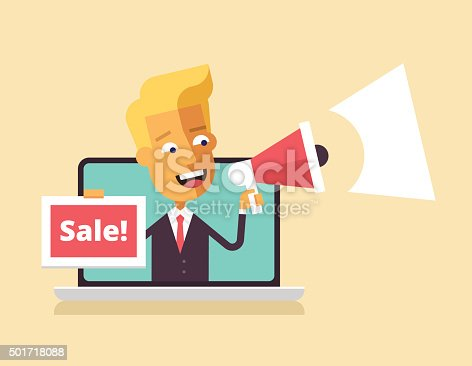 istock Man is leaning out of laptop with megaphone. 501718088