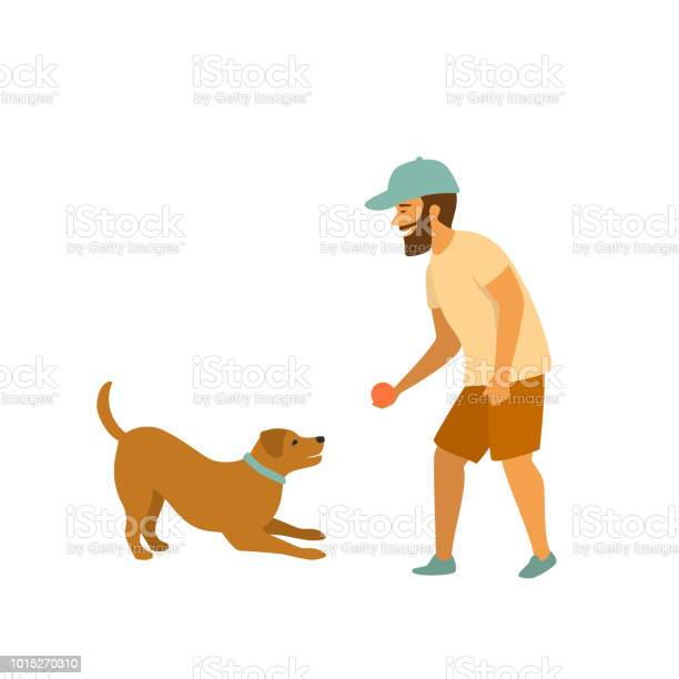 Man is playing with his pet dog fetching ball game scene vector id1015270310?b=1&k=6&m=1015270310&s=612x612&h=1lsrugef3e3nbdlp2qjmteslwidsu2pazetcs65hrsu=