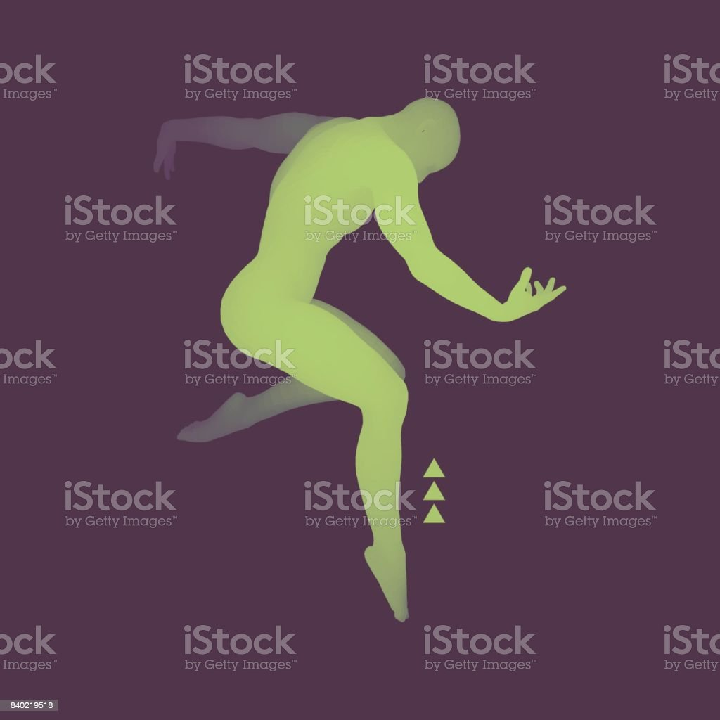 Man is Posing and Dancing. Silhouette of a Dancer. A Dancer Performs Acrobatic Elements. Sports Concept. 3D Model of Man. Human Body. Sport Symbol. Design Element. Vector Illustration. vector art illustration