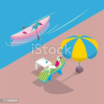 A man is rowing in the river, a woman is lying on a lounge chair by the river bank, and the woman is wearing a bikini under an umbrella.