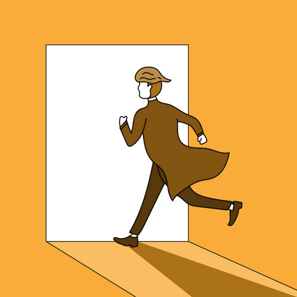 Man is running out of light path.and he is running past obstacles to reach success goals. vector art illustration