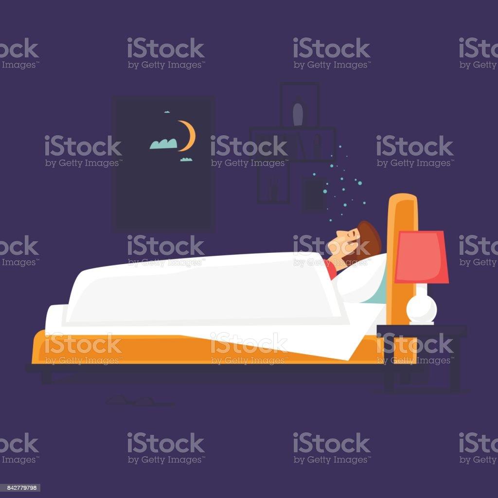 Man is sleeping in bed. Flat design vector illustration. vector art illustration