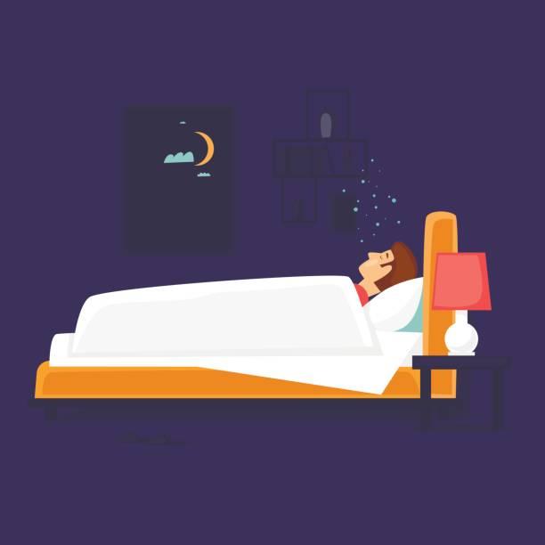 Mann schläft im Bett. Flaches Design-Vektor-Illustration. – Vektorgrafik