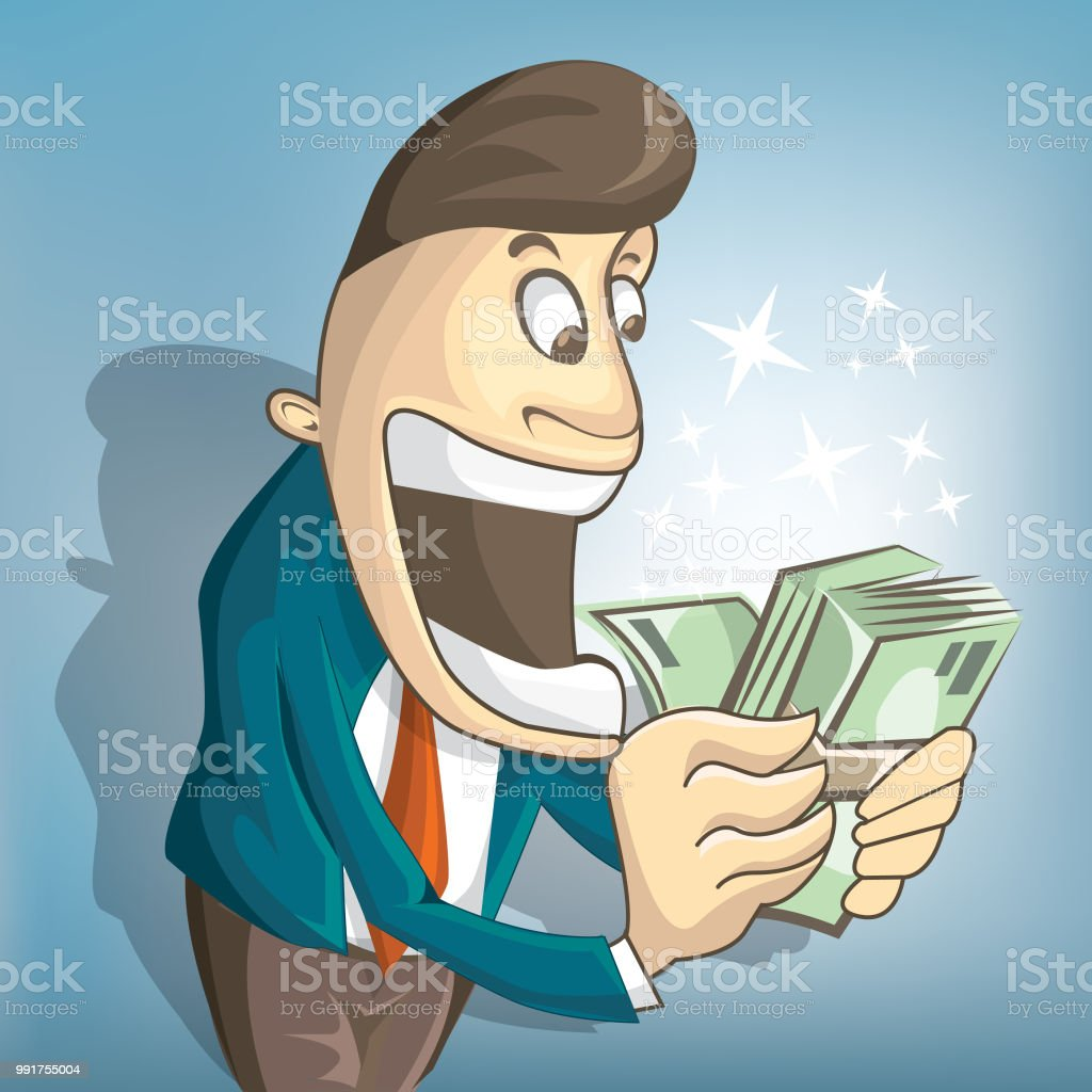 A man is surprised to see money in his hands. Makes massive profit.eps vector art illustration