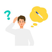 Man is thinking about vaccination. Concept for coronavirus vaccination. Vector flat illustration.