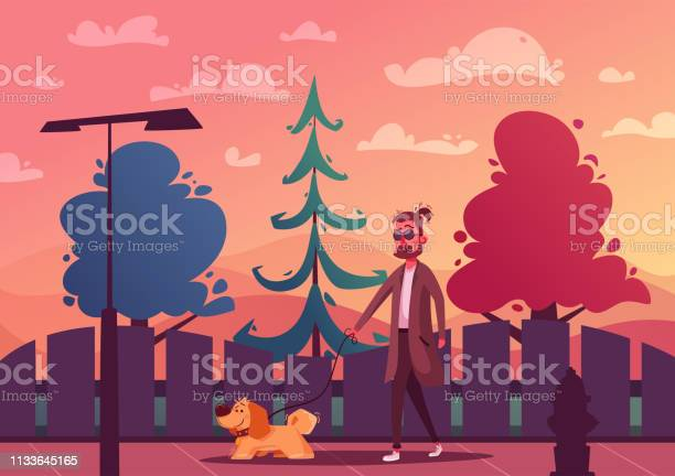 Man is walking with a dog cartoon vector illustration dog walker vector id1133645165?b=1&k=6&m=1133645165&s=612x612&h=qzfyqx5awrlxylndyk 4iphiwbo hfwnxjdm5ldrorq=