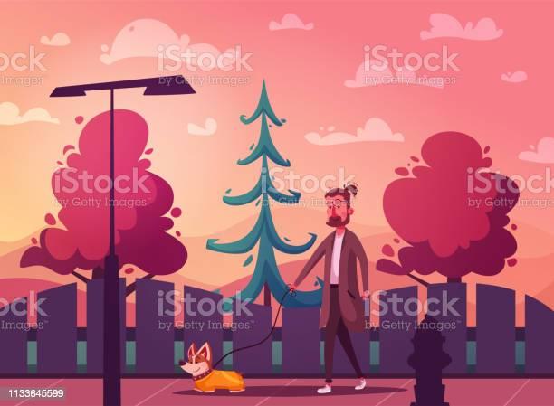 Man is walking with a dog cartoon vector illustration dog walker vector id1133645599?b=1&k=6&m=1133645599&s=612x612&h=vk1kgpfkug3agexqm0m2voox5fimpckpejcaeg td3g=