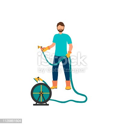Man is watering  from the hose. Concept of gardening. Vector illustration in flat style