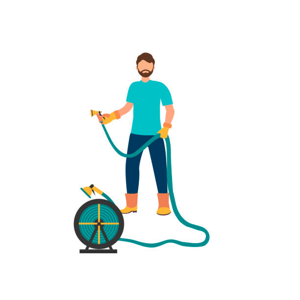 Man is watering  from the hose. Concept of gardening. Man is watering  from the hose. Concept of gardening. Vector illustration in flat style hose stock illustrations