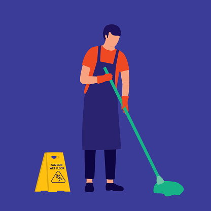 Man Janitor Mopping Floor. Cleaning Service Occupation.