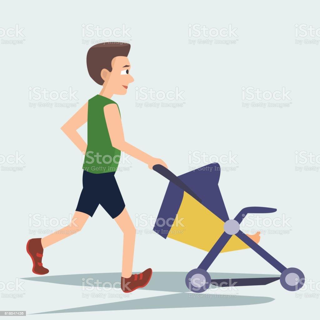 joggen mit kinderwagen vektor cartoon mann stock vektor art und mehr bilder von alleinerzieher. Black Bedroom Furniture Sets. Home Design Ideas