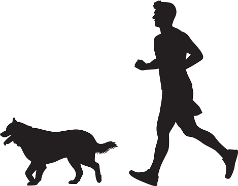 Man Jogging with Dog Silhouette