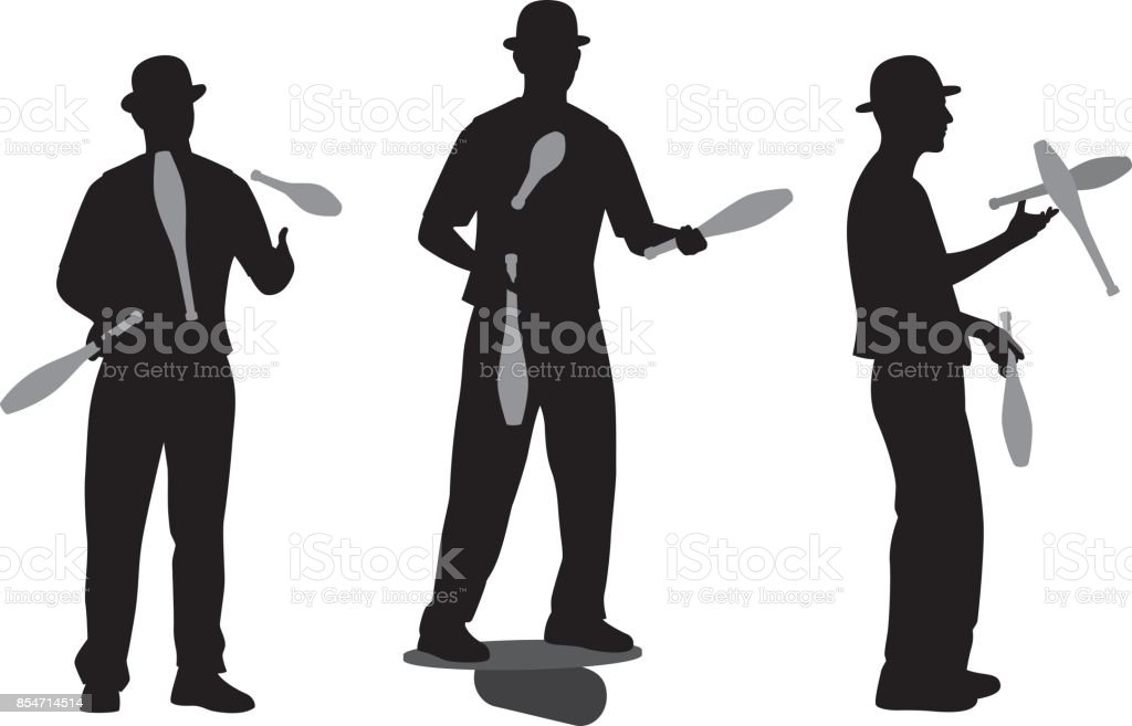 Man Juggling Pins Silhouette vector art illustration