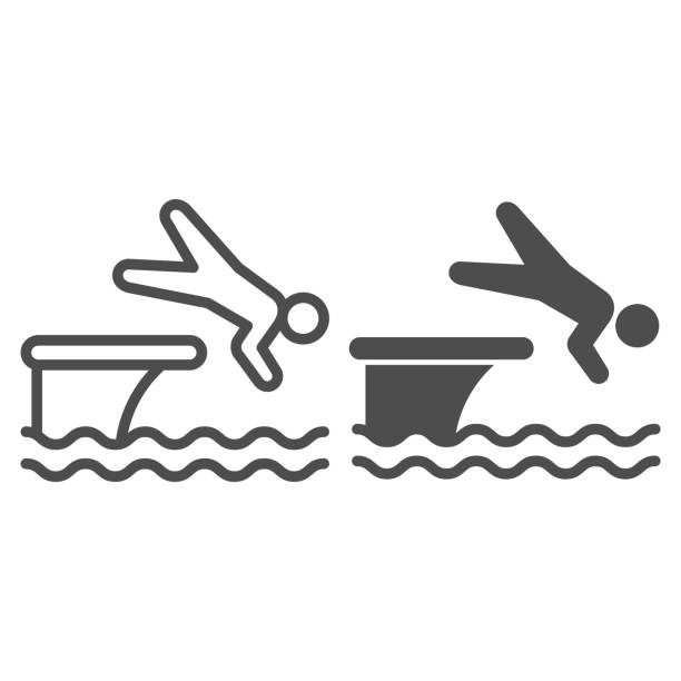 ilustrações de stock, clip art, desenhos animados e ícones de man jump in water line and solid icon, aquapark concept, swimmer jumping from starting block to pool sign on white background, athlete diving from springboard icon in outline style. vector graphics. - jump pool, swimmer