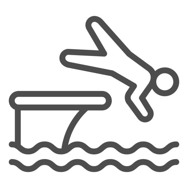 ilustrações de stock, clip art, desenhos animados e ícones de man jump in water line icon, aquapark concept, swimmer jumping from starting block to pool sign on white background, athlete diving from springboard icon in outline style. vector graphics. - jump pool, swimmer