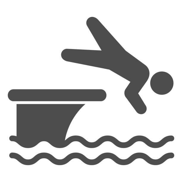 ilustrações de stock, clip art, desenhos animados e ícones de man jump in water solid icon, aquapark concept, swimmer jumping from starting block to pool sign on white background, athlete diving from springboard icon in glyph style. vector graphics. - jump pool, swimmer