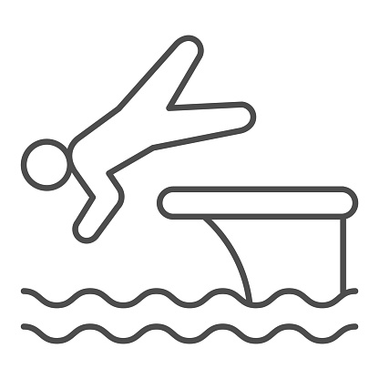 Man jump in water thin line icon, Aquapark concept, swimmer jumping from starting block to pool sign on white background, Athlete diving from springboard icon in outline style. Vector graphics.
