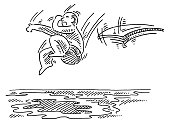 Man Jumping From Diving Board Into Water Drawing