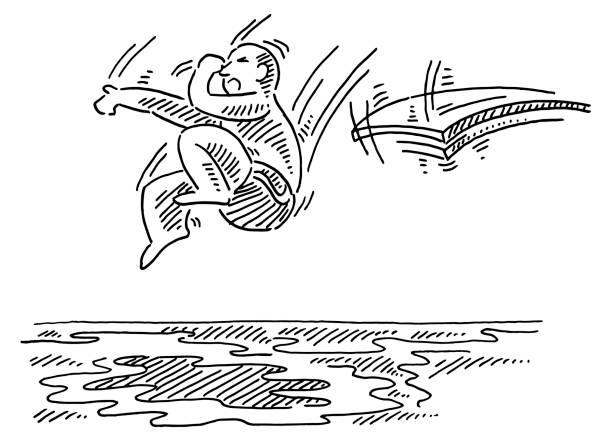 ilustrações de stock, clip art, desenhos animados e ícones de man jumping from diving board into water drawing - jump pool, swimmer