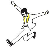 Vector illustration full length character of businessman jumping in the air, in concept of happiness, winning, success, or congratulation. Outline, hand drawn, line art, doodle, sketch design.
