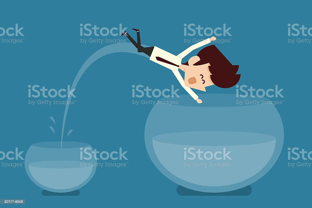 Man jumping out of fishbowl vector art illustration