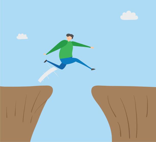 Mann springt über Abgrund, handgezeichnete Vektor-Illustration. – Vektorgrafik
