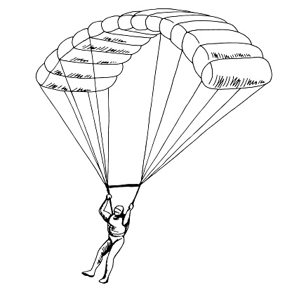 Man jumping with a parachute isolated graphic black white sketch illustration vector