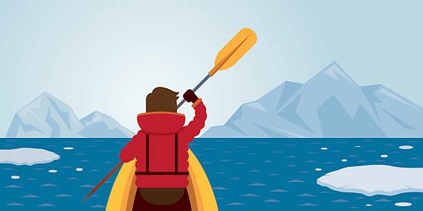 Mann Kajak fahren, Arctic Hintergrund – Vektorgrafik
