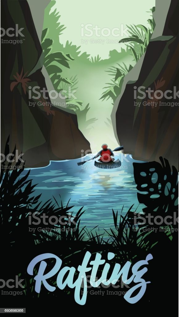 Man Kayaking On Mountain River vector art illustration