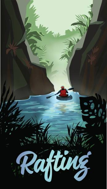 man kayaking on mountain river - kayaking stock illustrations, clip art, cartoons, & icons