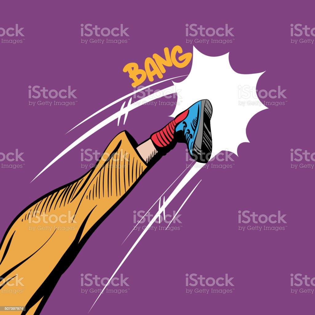Man kicking comic book pop art, vector illustration vector art illustration