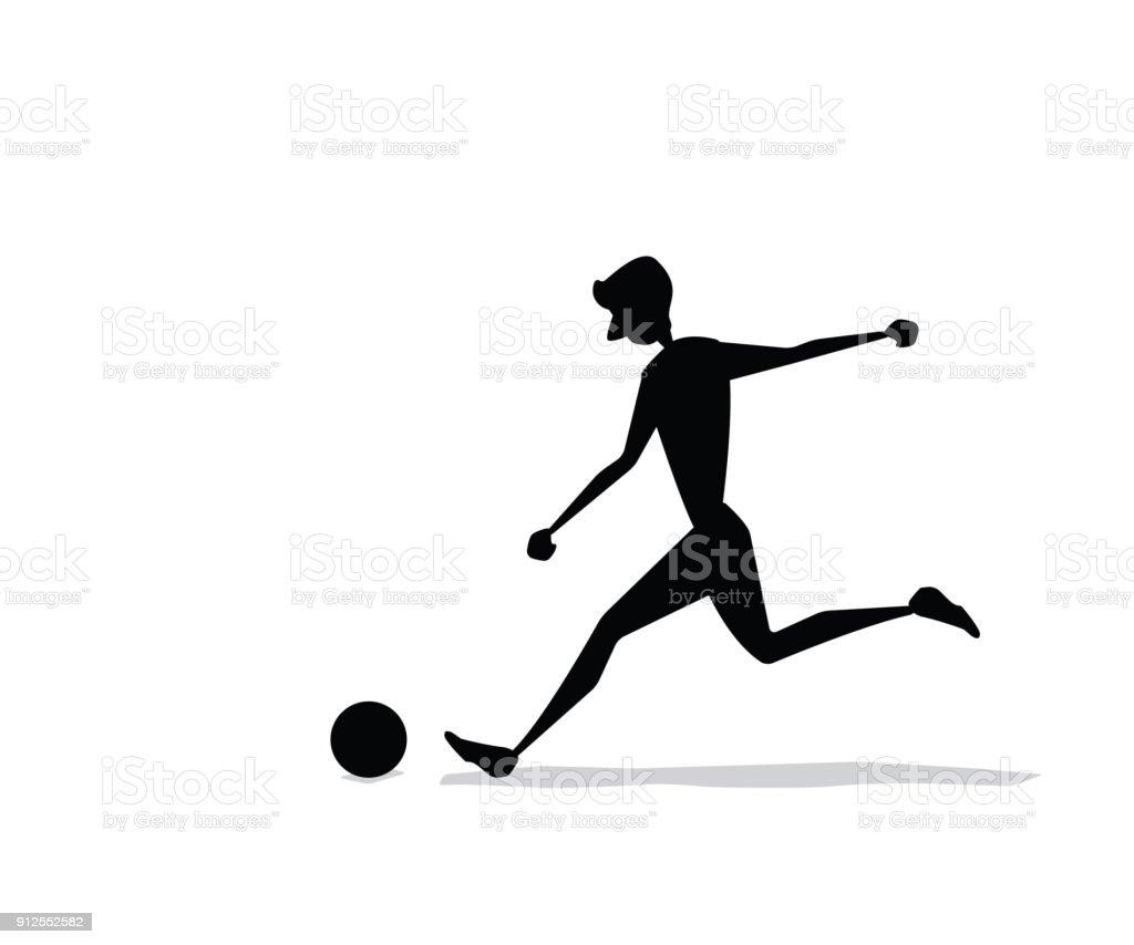 man kicking the ball silhouette cartoon design vector art illustration