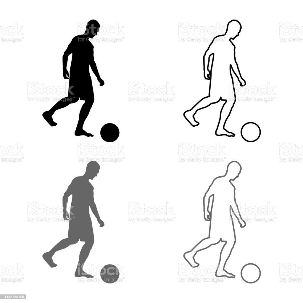 Man kicks the ball silhouette Soccer player kicking ball side view...