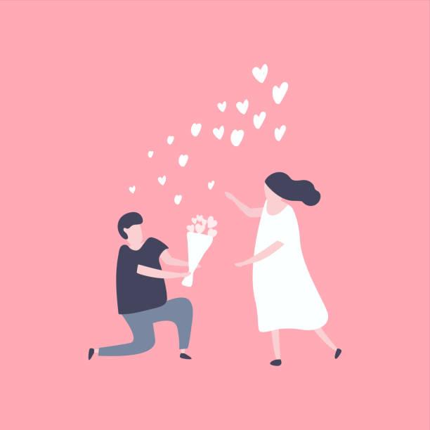 折り敷き男性し、きれいな女性に花を与えます。愛の概念のカップル。 - 婚約点のイラスト素材/クリップアート素材/マンガ素材/アイコン素材