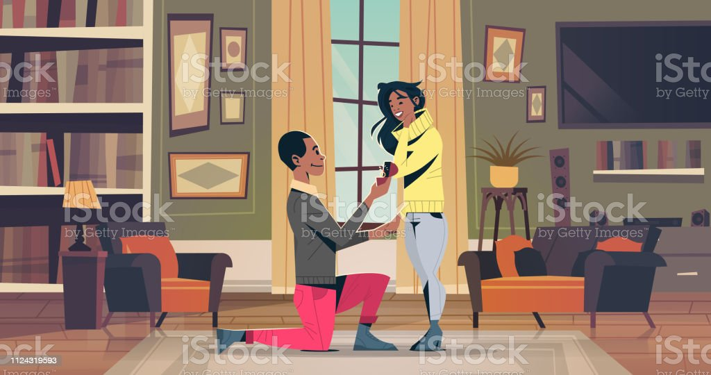 man kneeling holding engagement ring proposing woman marry him happy valentines day concept african american couple in love marriage offer living room interior horizontal man kneeling holding engagement ring proposing woman marry him happy valentines day concept african american couple in love marriage offer living room interior horizontal vector illustration Adult stock vector